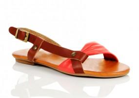 Sommer-Sandale Leder Rot-Braun